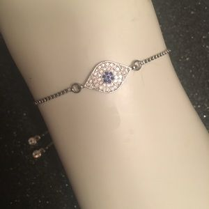"""Silver Plated Pave Clear CZ with Blue """"Evil Eye"""""""
